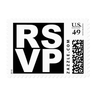 RSVP (White on Black) Postage