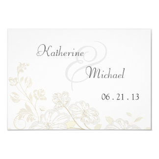 RSVP White on White Floral Posh 3.5x5 Paper Invitation Card