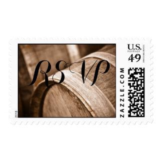 RSVP Wine Barrels for a Vineyard or Winery Wedding Postage