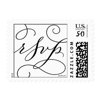 RSVP . with a Flourish : Black on White Postage