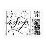 RSVP . with a Flourish : Black on White Postage Stamps