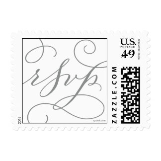 RSVP . with a Flourish : Slate Grey and White Postage