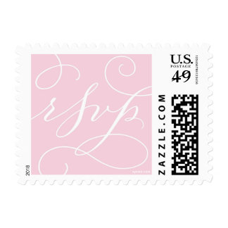 RSVP . with a Flourish : Soft Pink and White Stamp