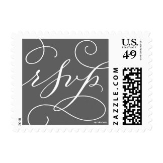 RSVP . with a Flourish : White and Charcoal Postage