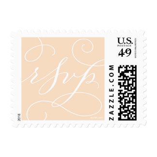 RSVP . with a Flourish : White and Peach Postage Stamp