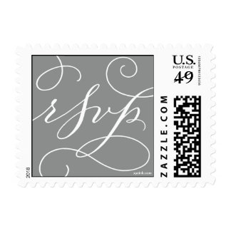 RSVP . with a Flourish : White and Slate Grey Postage