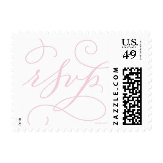RSVP . with a Flourish : White and Soft Pink Postage Stamps
