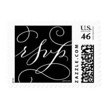 RSVP . with a Flourish : White on Black Stamps