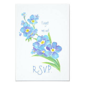RSVP with Forget me not, Watercolor Flower Card