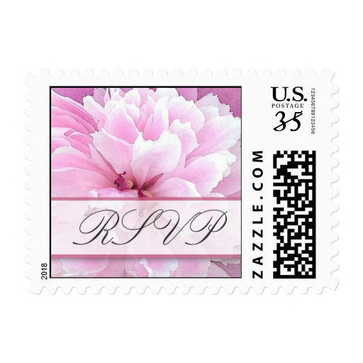 RSVP with old fashioned peonies in watercolor Postage