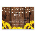 RSVP Wood Wedding Rustic Sunflowers Floral Cards