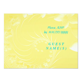 RSVP - Yellow Abstract Flowers Card