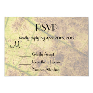 RSVP Yellow and Brown Dying Macro Leaf Personalized Invite