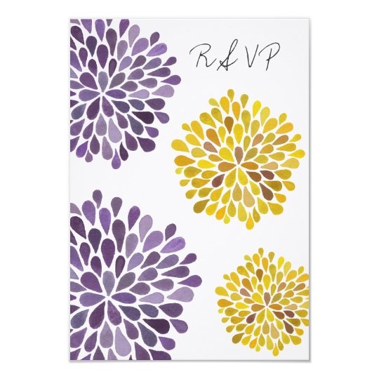 RSVP Yellow & Purple Floral Blooms Wedding Card