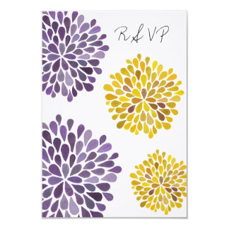 RSVP Yellow & Purple Floral Blooms Wedding Card Custom Announcement