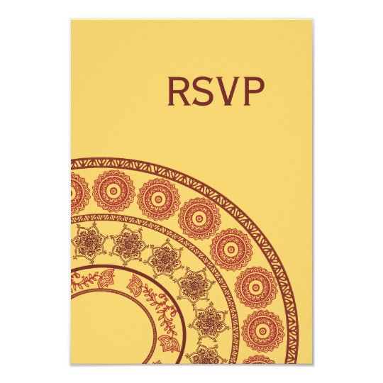 RSVP Yellow Red Indian Henna Mehndi Wedding Card