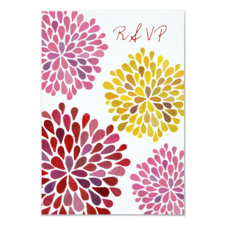 RSVP Yellow Red Pink Flower Blossoms Wedding Card Custom Invitation