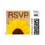 RSVP yellow sunflower floral postage stamps