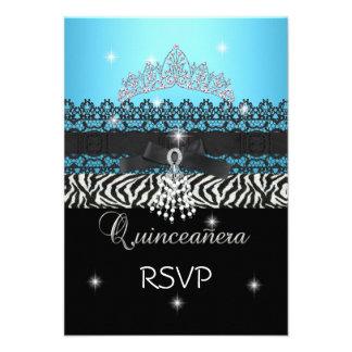 RSVP Zebra Quinceanera 15th Birthday Blue Black Personalized Invite