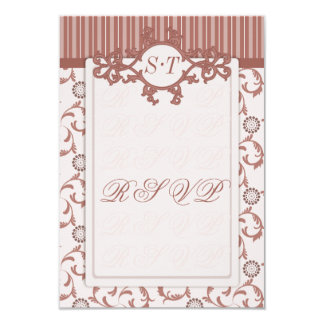 """RSVPs in Spice Beige with Stripes & Ornate Pattern 3.5"""" X 5"""" Invitation Card"""