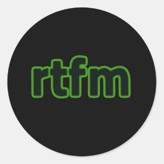rtfm classic round sticker