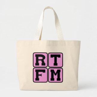 RTFM Read The #$%%^ Manual Internet Slang Acronym Large Tote Bag