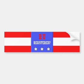 RU Registered Blue Bumper Sticker