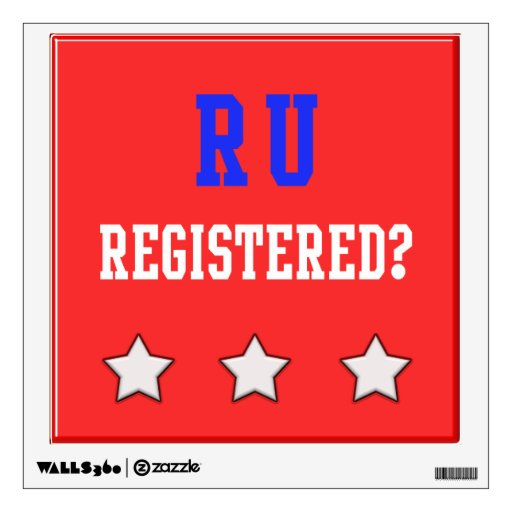 RU Registered Blue, White & Red Background Wall Skins