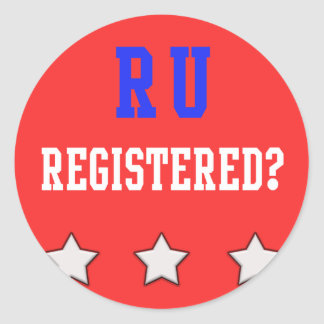 RU Registered Red Classic Round Sticker