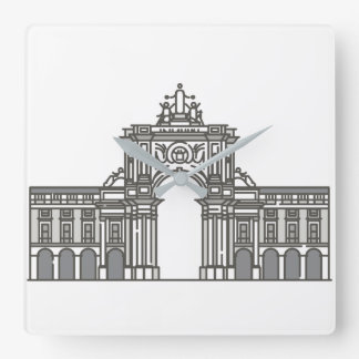 Rua Augusta Arch World landmarks Square Wall Clock