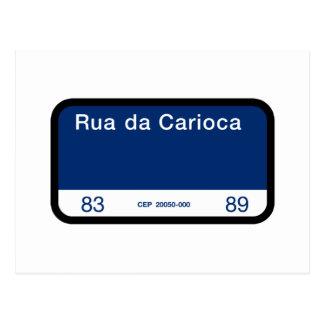 Rua da Carioca, Rio de Janeiro, Street Sign Postcard