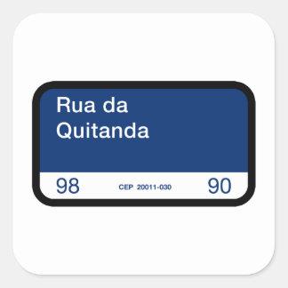 Rua DA Quitanda, Río de Janeiro, placa de calle Pegatina Cuadrada