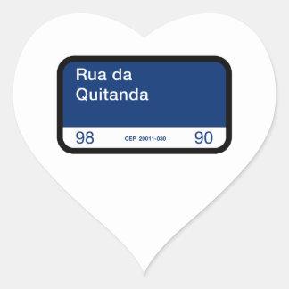 Rua DA Quitanda, Río de Janeiro, placa de calle Pegatina En Forma De Corazón