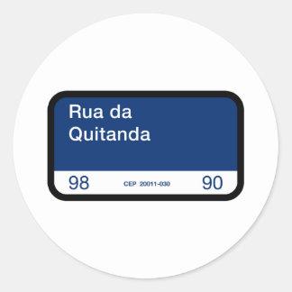 Rua DA Quitanda, Río de Janeiro, placa de calle Pegatina Redonda