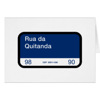 Rua da Quitanda, Rio de Janeiro, Street Sign Greeting Card