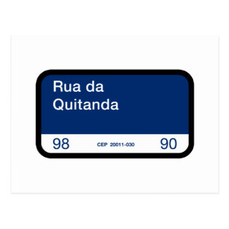 Rua da Quitanda, Rio de Janeiro, Street Sign Postcard