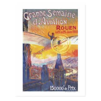 Ruán, Francia - piloto y avión Tarjeta Postal