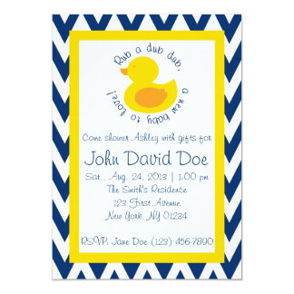 Rub-a-dub Baby Shower Invitation - Blue