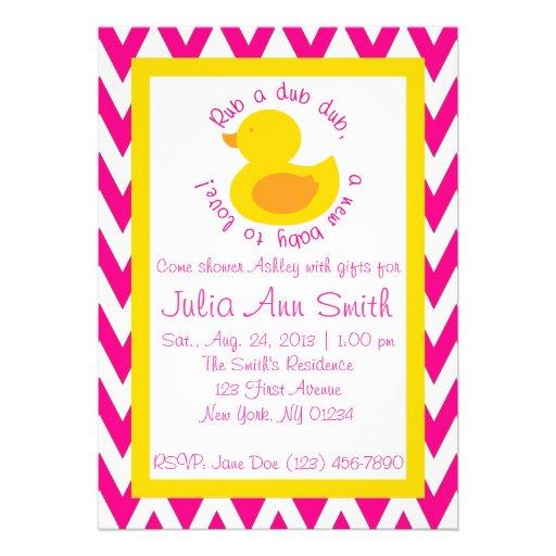 Rub-a-dub Baby Shower Invitation - Pink