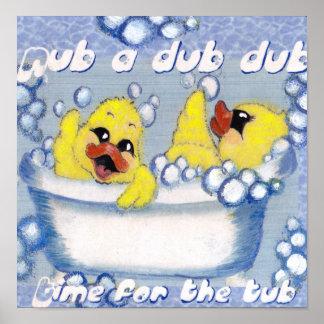 rub a dub cute ducks in a tub poster