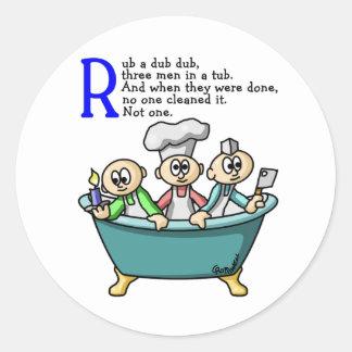 Rub A Dub Dub Classic Round Sticker