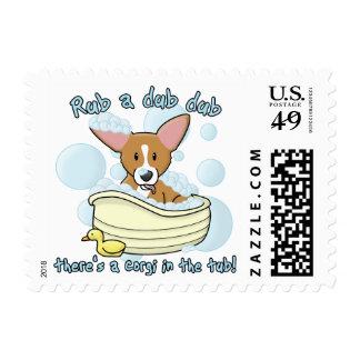 Rub a Dub Dub Corgi Postage Stamps