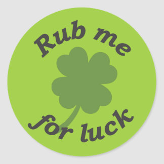 Rub me for luck sticker