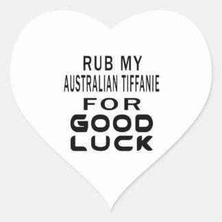 Rub My Australian Tiffanie Cat For Good Luck Heart Sticker