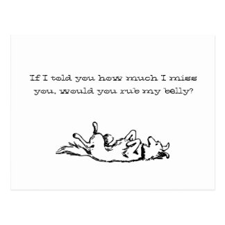 Rub my belly? Doggie postcard