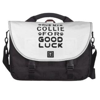 Rub My Collie For Good Luck Laptop Messenger Bag