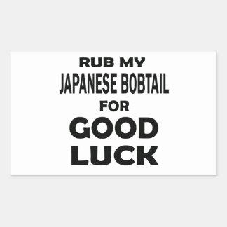 Rub my Japanese Bobtail for good luck Rectangular Sticker