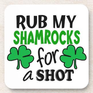 Rub My Shamrocks For a Shot Drink Coaster