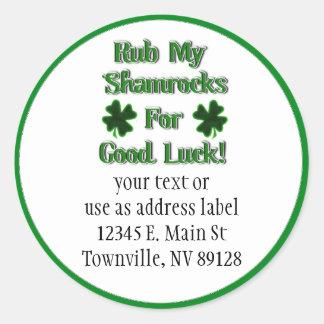 Rub My Shamrocks For Good Luck (1) Stickers