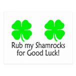 Rub My Shamrocks For Good Luck Postcard